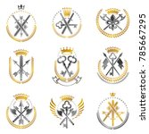 vintage weapon emblems set.... | Shutterstock .eps vector #785667295