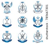 vintage weapon emblems set.... | Shutterstock .eps vector #785667301