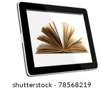 Small photo of Book and teblet computer 3D model isolated on white, digital library concept, Objects with Clipping Paths