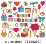set of valentines day doodle... | Shutterstock .eps vector #785682934