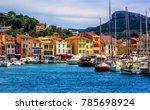 colorful houses in the popular... | Shutterstock . vector #785698924