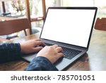 mockup image of hands using and ... | Shutterstock . vector #785701051