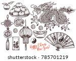 sketch symbols of chinese lunar ...   Shutterstock .eps vector #785701219