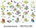 set of isometric city buildings.... | Shutterstock .eps vector #785701789