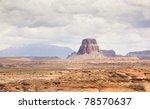 mesa eroding in arid country near page arizona usa - stock photo