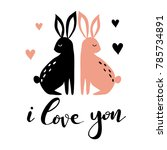 hand drawn card with hearts ... | Shutterstock .eps vector #785734891