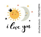 hand drawn card with lettering... | Shutterstock .eps vector #785734894