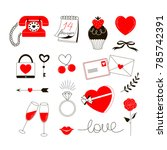 romantic icons  valentine day... | Shutterstock .eps vector #785742391