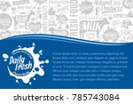 vector dairy farm illustration... | Shutterstock .eps vector #785743084