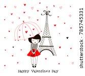 little french girl under... | Shutterstock .eps vector #785745331