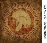 spartan helmet an icon on old... | Shutterstock .eps vector #785747191