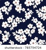 floral pattern on navy... | Shutterstock .eps vector #785754724