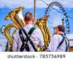 MUNICH, GERMANY - SEPTEMBER 27: brass band musicans at the biggest folk festival in the world - the octoberfest on september 27, 2017 in munich. - stock photo