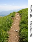 Pathway in mountains - stock photo