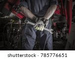 semi truck pro mechanic.... | Shutterstock . vector #785776651
