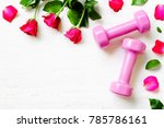 pink sport dumbbells   and red... | Shutterstock . vector #785786161