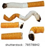 Set Cigarette Butts Isolated O...