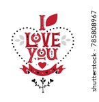 hand drawn lettering i love you.... | Shutterstock .eps vector #785808967