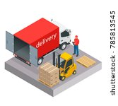 isometric delivery and shipment ... | Shutterstock .eps vector #785813545