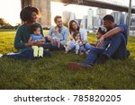 two families with daughters... | Shutterstock . vector #785820205