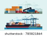 cargo logistics truck and... | Shutterstock .eps vector #785821864