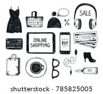 vector set of hand drawn... | Shutterstock .eps vector #785825005