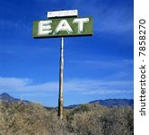 Sign with text EAT - stock photo