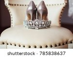 silver crown and bridal shoes | Shutterstock . vector #785838637
