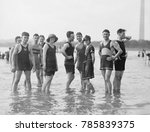 bathing fashions in the 1910s.... | Shutterstock . vector #785839375