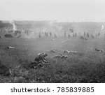 Small photo of 5,500 soldiers of the 5th and 6th Marine Regiments reenact Pickettx90s Charge. President Harding invited Civil War veterans to watch the Battle of Gettysburg reenactment, July 1, 1922