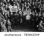Small photo of Amalgamated Association of Street and Electric Railway Employees of America, going to a meeting. Philadelphia Trolley Strike, Feb 21, 1910. On March 5th, 140,000 union workers joined in a general stri