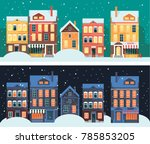 winter europe city landscape.... | Shutterstock .eps vector #785853205
