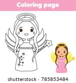 coloring page with cute angel... | Shutterstock . vector #785853484