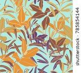 vintage tropical leaf seamless... | Shutterstock .eps vector #785854144