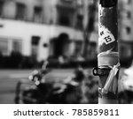 stickers on a street bar | Shutterstock . vector #785859811