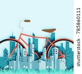 bike in the city with paper cut ... | Shutterstock .eps vector #785860111