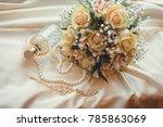 delicate women's jewelry and... | Shutterstock . vector #785863069