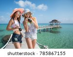 asian lady travel resort in... | Shutterstock . vector #785867155