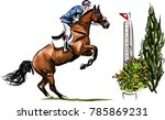 young horseman on show jumping... | Shutterstock . vector #785869231