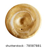 Close-up of coffee foam isolated over a white background, viewed from top. - stock photo
