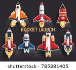 sticker rocket launch set... | Shutterstock .eps vector #785881405