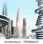 futuristic city. 3d illustration | Shutterstock . vector #785886655
