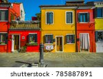colorful houses in burano ... | Shutterstock . vector #785887891