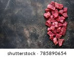 cut beef with sea salt and... | Shutterstock . vector #785890654