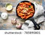 whole grain pasta with chicken... | Shutterstock . vector #785890801