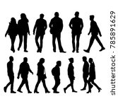 silhouettes of going people | Shutterstock .eps vector #785891629