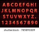 font lamp symbol  gold letter... | Shutterstock .eps vector #785893309
