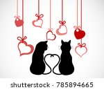 silhouettes of two cats in love ...   Shutterstock .eps vector #785894665