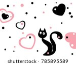 abstract black cat and heart...   Shutterstock .eps vector #785895589