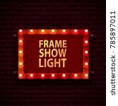 red frame with light bulbs on...   Shutterstock .eps vector #785897011